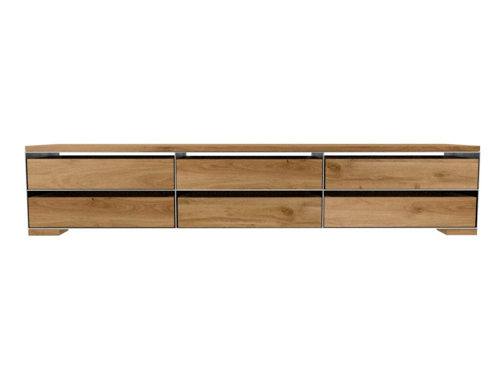 Sideboard Metall modern und minimalistisch in Zunderstahloptik und Massivholz