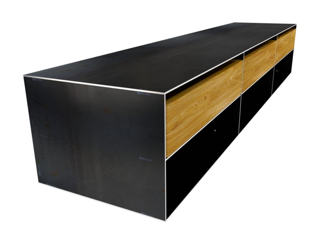 Sideboard Metall modern und minimalistisch in Zunderstahloptik und Massivholz Rohmetall Sideboard