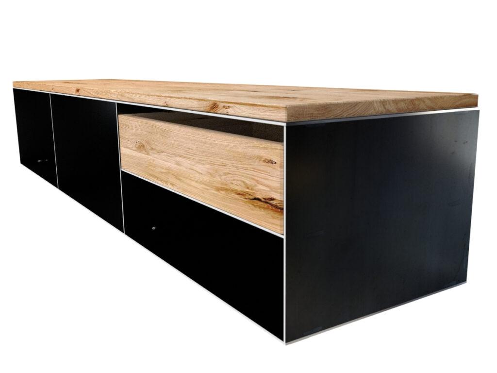 Metall Sideboard modern und minimalistisch in Rohstahloptik und Massivholz
