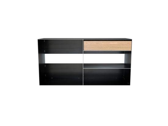 TV Metall Sideboard als Kaminholzaufbewahrung mit Schubfach aus Eiche