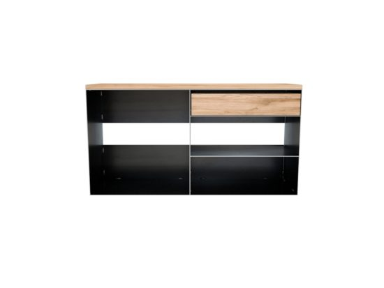 Design Regal Metall Sideboard in Rohstahl und Holz