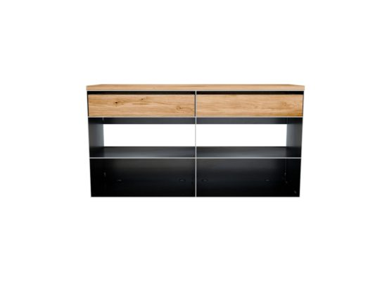 Metall Sideboard in Rohstahl und Holz