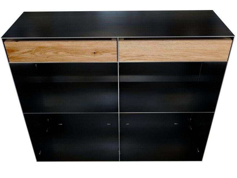 metall regal mit holz. Black Bedroom Furniture Sets. Home Design Ideas