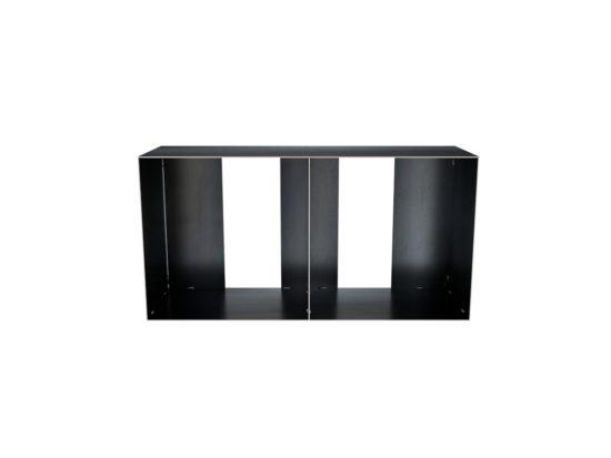 design stahlmöbel lowvboard, kleines kaminholzregal für innen als hocker für Kaminholz