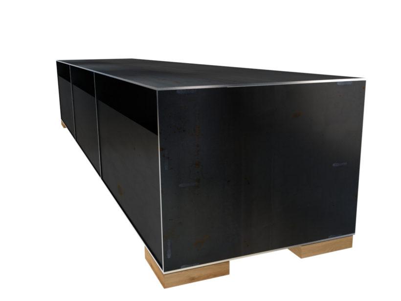 rohstahl sideboard minimalistisch. Black Bedroom Furniture Sets. Home Design Ideas
