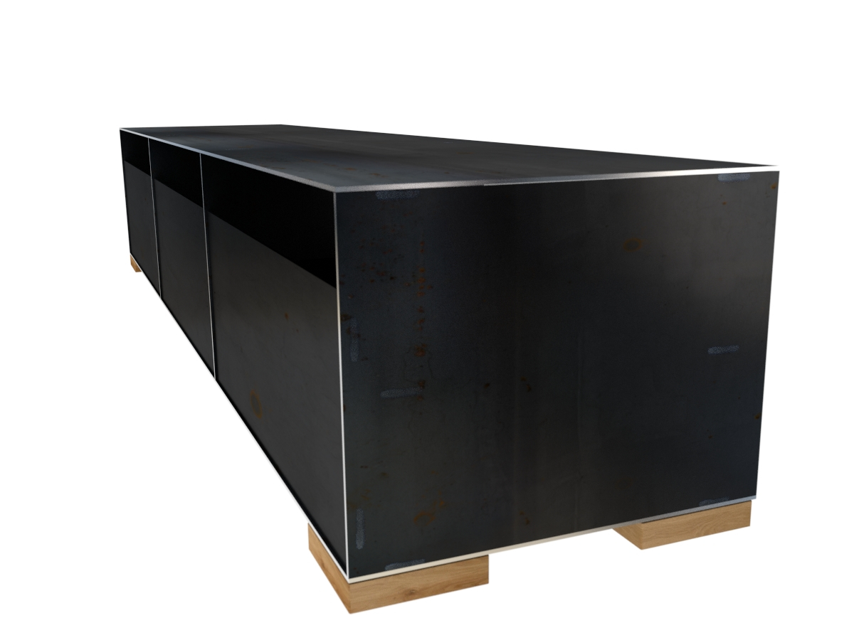 design sideboard minimalistisch und modern aus metall mit massivholz. Black Bedroom Furniture Sets. Home Design Ideas