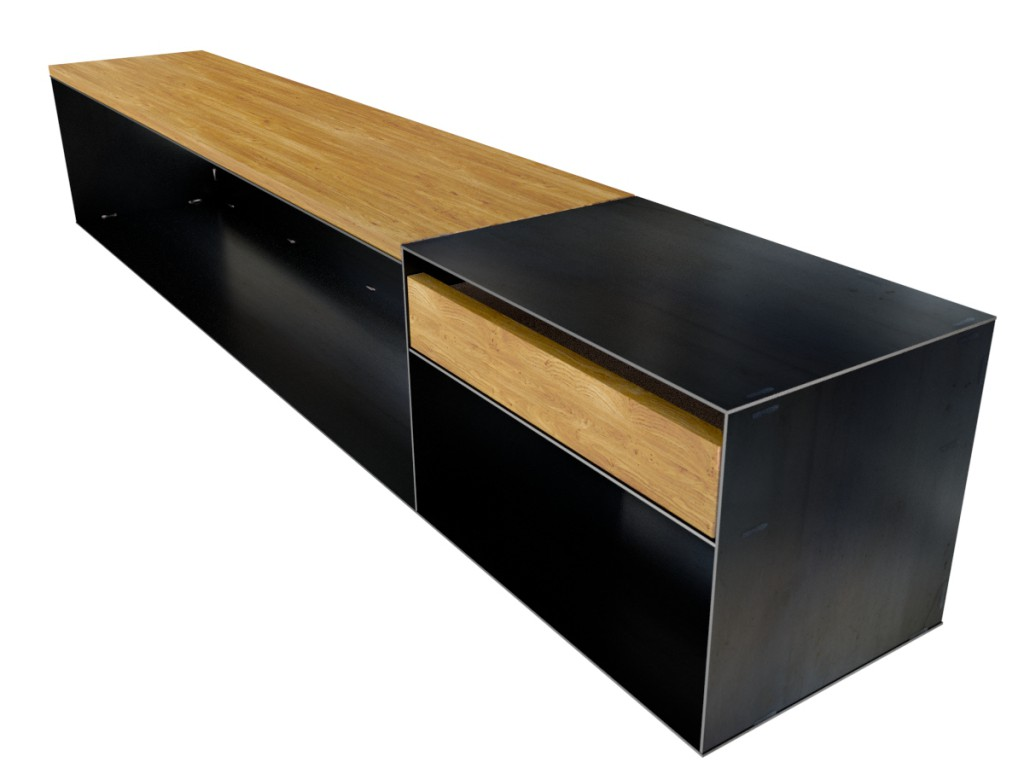 design sideboard modern mit holz metall lowboard minimalistisch. Black Bedroom Furniture Sets. Home Design Ideas