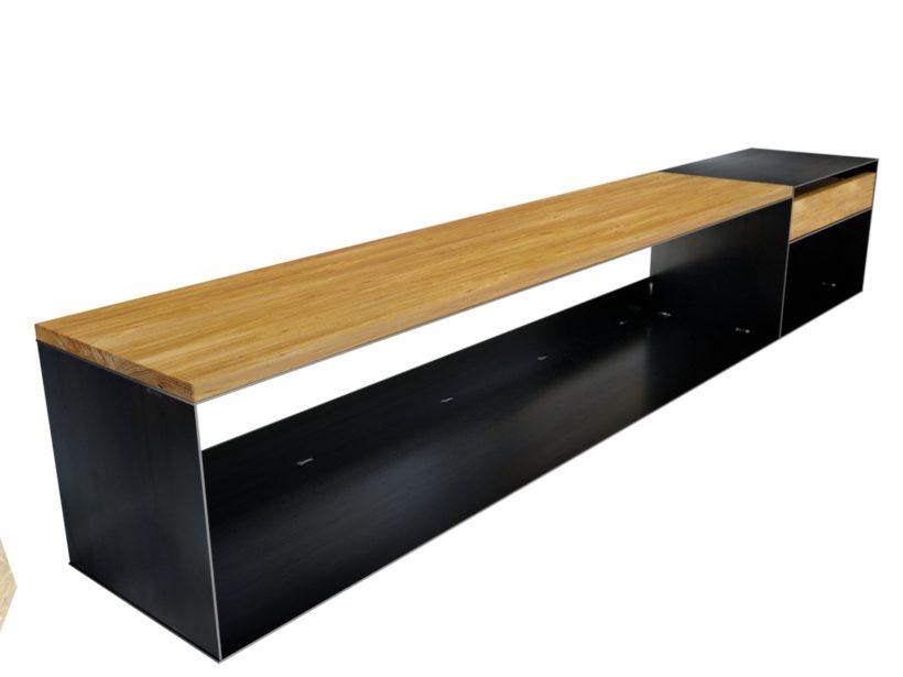 design sideboard modern mit holz metall lowboard. Black Bedroom Furniture Sets. Home Design Ideas